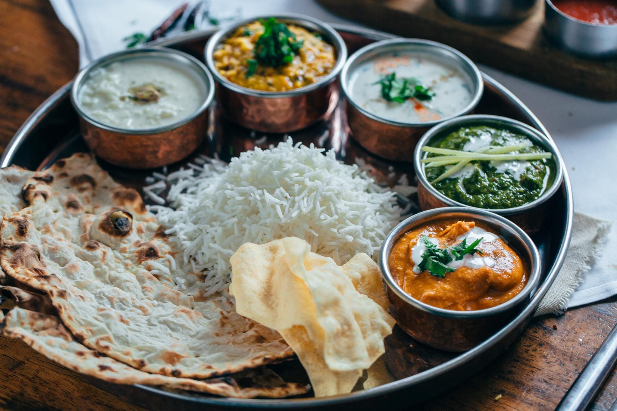 Thali Lunch from Indian Restaurant Merchant City Glasgow